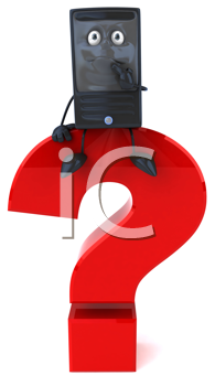 Royalty Free Clipart Image of a Cellphone on a Question Mark