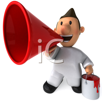 Royalty Free Clipart Image of a Painter With a Bullhorn