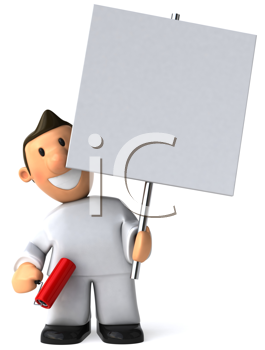 Royalty Free Clipart Image of a House Painter With a Placard