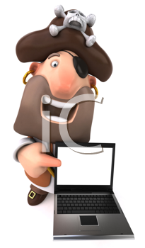 Royalty Free Clipart Image of a Pirate With a Laptop
