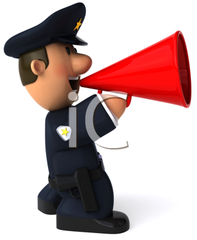 Royalty Free Clipart Image of a Policeman With a Bullhorn