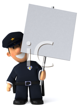 Royalty Free Clipart Image of a Policeman Holding a Sign