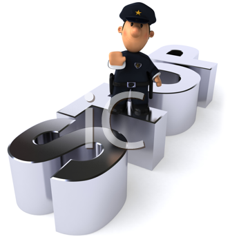 Royalty Free Clipart Image of a Police Man Making a Stop