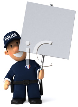 Royalty Free Clipart Image of a Policeman With a Placard