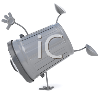Royalty Free Clipart Image of a Garbage Can Doing a Handstand