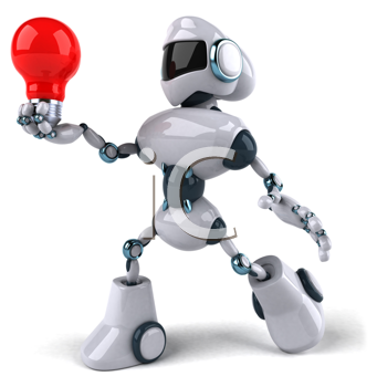 Royalty Free Clipart Image of a Robot With a Red Lightbulb