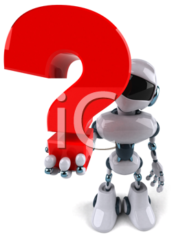 Royalty Free Clipart Image of a Robot Holding a Question Mark