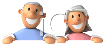 Royalty Free Clipart Image of a Grey Haired Couple From the Waist Up