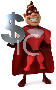 Royalty Free Clipart Image of a Superhero With a Dollar Sign