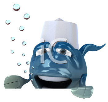 Royalty Free Clipart Image of a Sushi Fish Chef