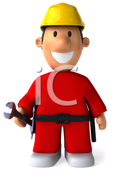 Royalty Free Clipart Image of a Worker With a Hard Hat and a Wrench