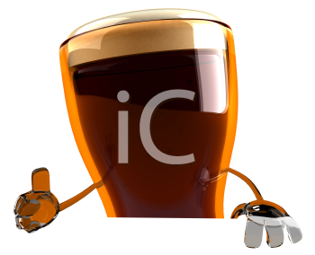 Royalty Free 3d Clipart Image of A Beer Glass Character Giving a Thumbs Up Sign