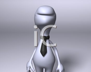 Royalty Free 3d Clipart Image of a Character Wearing a Necktie
