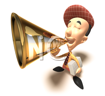 Royalty Free 3d Clipart Image of a Paperboy With an Armful of Newspapers and Talking into a Megaphone