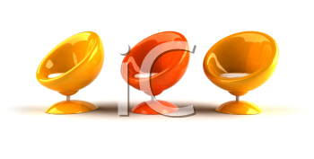 Royalty Free 3d Clipart Image of Yellow and Orange Bubble Chairs