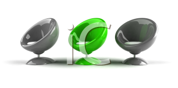 Royalty Free 3d Clipart Image of Grey and Green Bubble Chairs