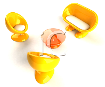 Royalty Free 3d Clipart Image of Yellow Bubble Chairs and Loveseat and Table