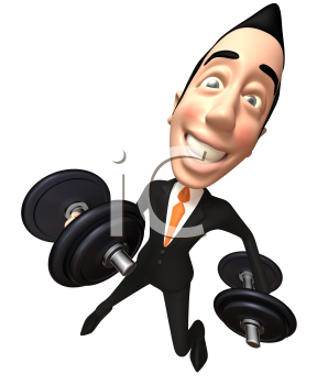 Royalty Free 3d Clipart Image of an Asian Businessman Lifting Dumbbells