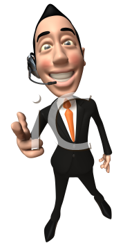Royalty Free 3d Clipart Image of an Asian Businessman Wearing a Telephone Headset and Pointing His Finger