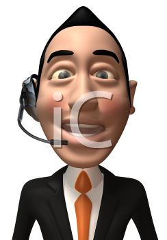 Royalty Free 3d Clipart Image of an Asian Businessman Wearing a Telephone Headset