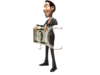 Royalty Free 3d Clipart Image of an Asian Businessman Holding a Large Dollar Bill