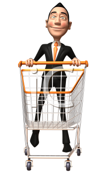 Royalty Free 3d Clipart Image of an Asian Businessman Pushing a Shopping Cart