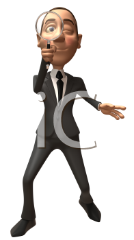 Royalty Free 3d Clipart Image of a Businessman Looking Through a Magnifying Glass