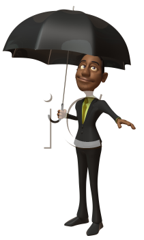 Royalty Free 3d Clipart Image of an African American Businessman Holding an Umbrella