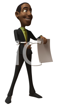 Royalty Free 3d Clipart Image of an African American Businessman Holding a Paper Document and Pen