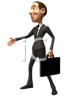 Royalty Free 3d Clipart Image of a Businessman Holding a Briefcase Inviting Someone to Shake Hands