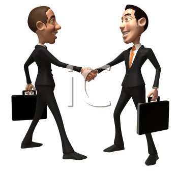 Royalty Free 3d Clipart Image of Two Businessmen Carrying Briefcases and Shaking Hands