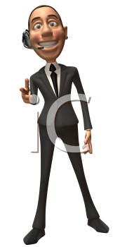 Royalty Free 3d Clipart Image of a Businessman Wearing a Telephone Headset and Pointing His Finger