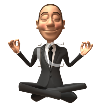 Royalty Free 3d Clipart Image of a Businessman Meditating
