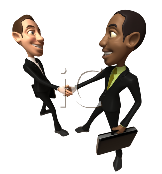 Royalty Free 3d Clipart Image of Two Businessmen Shaking Hands