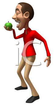 Royalty Free 3d Clipart Image of a Man Taking a Bite of a Green Apple