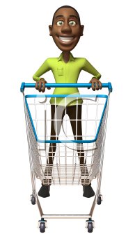 Royalty Free 3d Clipart Image of an African American Man Pushing a Shopping Cart