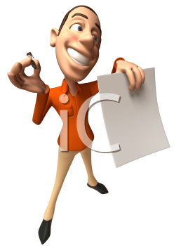 Royalty Free 3d Clipart Image of a Man Holding a Paper Document and Pen