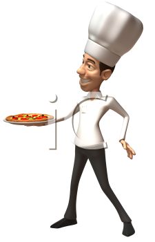 Royalty Free Clipart Image of a Chef With a Pizza