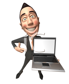 Royalty Free 3d Clipart Image of an Asian Businessman Holding a Laptop Computer