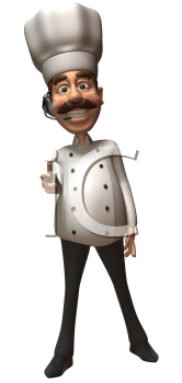 Royalty Free 3d Clipart Image of a Chef Wearing a Telephone Headset and Pointing His Finger