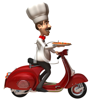 Royalty Free 3d Clipart Image of a Chef Holding a Pizza and Riding a Scooter