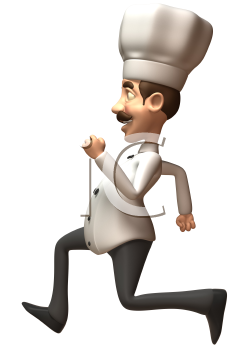 Royalty Free 3d Clipart Image of a Running Chef