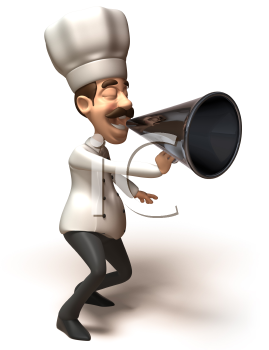 Royalty Free 3d Clipart Image of a Chef Yelling into a Megaphone