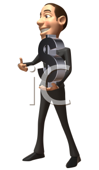 Royalty Free 3d Clipart Image of a Businessman Holding a Large Dollar Sign