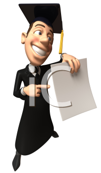 Royalty Free 3d Clipart Image of a Male Graduate Holding a Paper Document