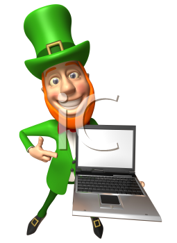 Royalty Free 3d Clipart Image of a Leprechaun Holding a Laptop Computer