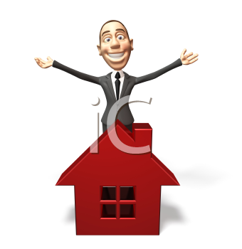 Royalty Free 3d Clipart Image of a Real Estate Agent Standing Behind a Model of a House