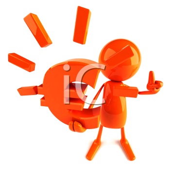 Royalty Free 3d Clipart Image of a Red Guy Holding a Large Euro Sign