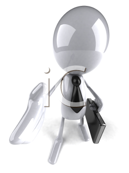 Royalty Free 3d Clipart Image of a Guy Holding a Briefcase and Offering to Shake Hands