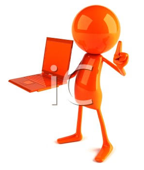 Royalty Free 3d Clipart Image of a Red Guy Holding a Laptop Computer